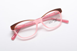 Petite pastel pink color block glasses with brown contrast. Full view shows high gloss, deep pink interior.