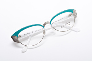 Teal and white, mid-century Chevy inspired cat eye glasses. Color Block and Rockabilly