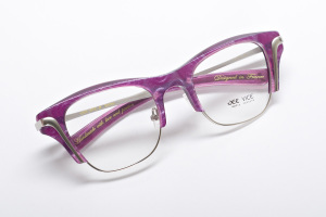 Combination retro inspired glasses with square lens in opalescent light purple. Better by Jeevice.
