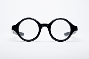 Round thick black glasses, made in USA