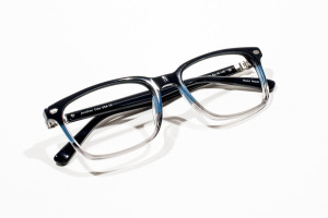 Thin blue color block glasses with modern masculine shape (unisex).