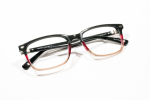 Thin unisex frame, earth tone color block glasses for men or women.