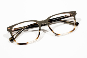 Unbranded, masculine or unisex color block glasses in hunter green and tortoise.