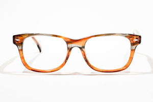 Orange glasses with striped pattern