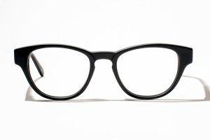 Matte black glasses in soft square or round shape.