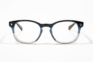 Blue color block glasses with striped pattern in a rounded shape.