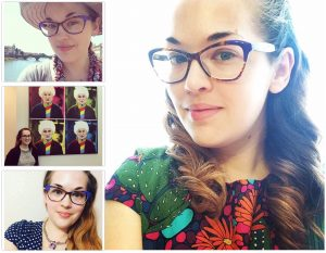 Claire wearing color block cat eye glasses in purple.